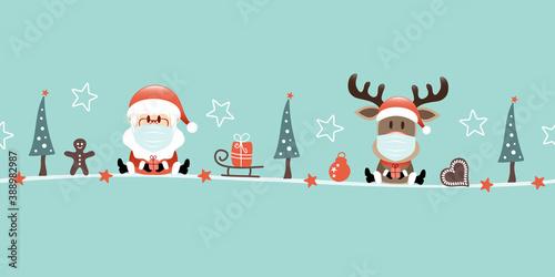 Obraz Banner Weihnachtsmann Und Rentier Maske Icons Türkis - fototapety do salonu