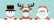 Schneemann Rentier Und Weihnachtsmann Maske Banner Schnee Türkis