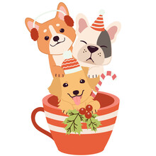 The Character Of Cute Dog And Friends In The Cup In Christmas Theme. Illustation For Greeting Card,banner,poster,content,sticker.