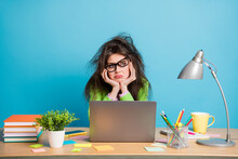 Portrait Of Her She Nice Attractive Dull Frustrated Girl Doing Boring Home Task Frowning Isolated Over Bright Blue Color Background