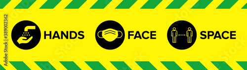 Fotografia, Obraz Hands Face Space Warning Sign with Icons for Covid-19 Coronavirus Social Distancing with face mask facemask face covering icon, wash hands icon, 2m distancing space icon
