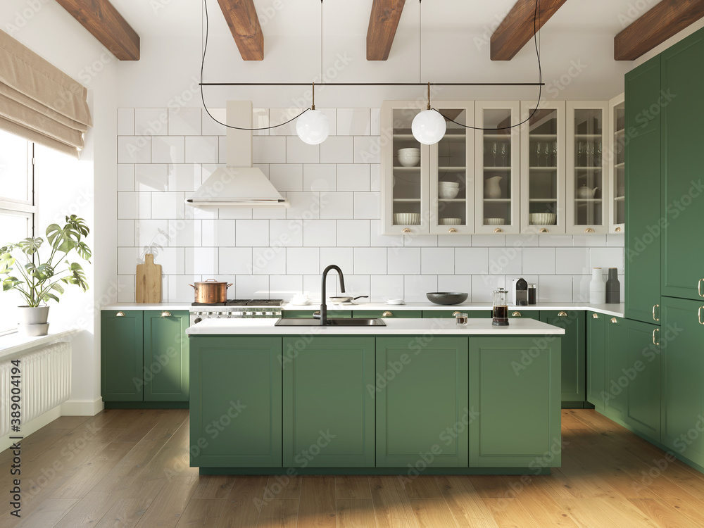 Obraz 3d rendering of a green and beige rustic country kitchen with white tiles, an island and wood logs on ceiling  fototapeta, plakat