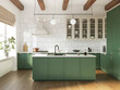 Leinwandbild Motiv 3d rendering of a green and beige rustic country kitchen with white tiles, an island and wood logs on ceiling