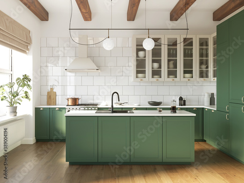 Fototapeta 3d rendering of a green and beige rustic country kitchen with white tiles, an island and wood logs on ceiling  obraz