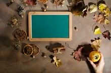 Green Black Board With Autumn ...