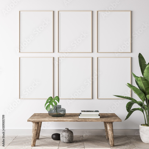 Leinwand Poster mock up poster frame in modern interior background, gallery wall in gray living