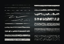 Set Of Chalk Strokes. Hand Drawn Grunge Lines On Chalkboard Background. Seamless Lines Can Be Used As Art And Pattern Brushes.