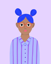 Girl With Glasses And Blue Hair