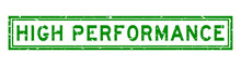 Grunge Green High Performance Word Square Rubber Seal Stamp On White Background