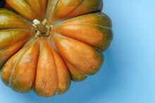 Top View Of Striped Pumpkin On...