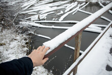 A Man Crosses A Snow-covered B...
