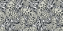 Seamless Vector Multicolor Butterflies Pattern. Butterfly On Zebra Print. Trendy Animal Motif Wallpaper. Fashionable Background For Fabric, Textile, Design, Banner, Cover.
