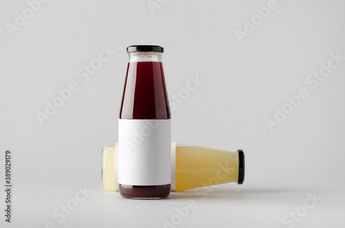 Juice Bottle Mock-Up - Two Bottles. Blank Label