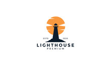 Lighthouse Silhouette With Sunset Logo Vector Icon Design