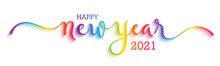 HAPPY NEW YEAR 2021 Colorful Rainbow Gradient Vector Brush Calligraphy Banner With Swashes Isolated On White