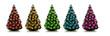 Weihnachtsbäume mit Bunten Christbaumkugeln