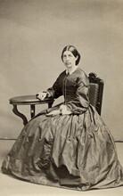 Beautiful Woman In Hoop Skirt Dress Antique Civil War Era 1860s Carte De Vista CDV Photo