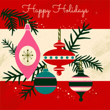 Mid Century Holiday Vector Greeting. Atomic Inspired Ornaments, Bold Color And Hand Lettered Holiday Greeting.