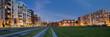 Leinwandbild Motiv Panorama Hamburg neue Mitte Altona abends entzerrt