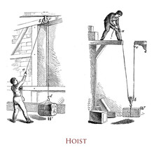 Vintage Illustration Of A  Worker Managing A Hoist, Device Used For Lifting Or Lowering A Heavy Load By Means Of A Pulley Around Which Rope Or Chain Wraps