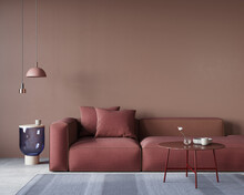 Living Room Interior With A Large Red Sofa