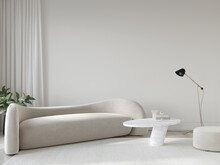 Living Room In Beige Tones With Bionic Sofa, Marble Table, Po…
