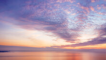 Colored Romantic Sky Over Sea At Sunset