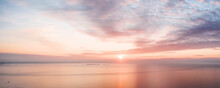 Calm Pink Colored Sea And Sky ...