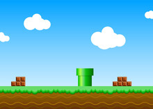 Old Retro Video Game Background. Vector