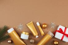 Set Of Cosmetics And Christmas...