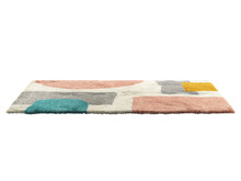 Multicolored Fluffy Rectangular Carpet With A Modern Colorful Geometric Pattern. 3d Render
