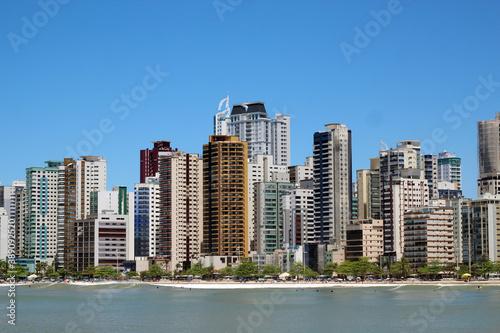 City view of Balneario Camboriu, Santa Catarina, Brazil and sky blue