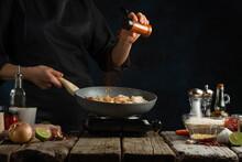 Professional Chef Pours Hot Sp...