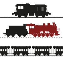 Old Locomotives, Shunting Locomotive And Steam Locomotive With Tender