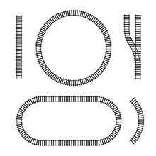 Curved Vector Railroad Isolated. Design Elements Of The Railway Tracks