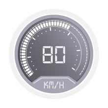 Digital Speedometer Indicator For Car Dashboard On White