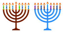 Candlestick With Menorah Candle. Jewish Holiday Of Hanukkah. Holiday Elements. Cartoon Vector