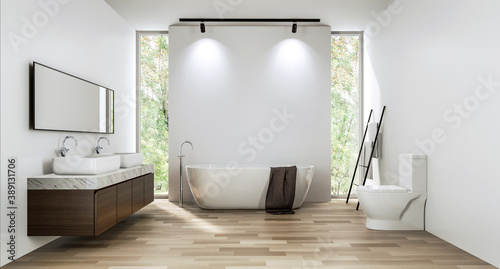 Modern contemporary bathroom with empty white wall backdrop 3d render. Room with wood floors. There is a glass shower wall. With tall windows overlooking the nature