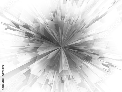 canvas print motiv - Ayvengo : Geometric Digital Explosion. Hyper Zoom Abstract Technology Background. Futuristic Concept. Polygonal Shapes Tend to the Center or Generated and Fly Out. Technology Art Illustration
