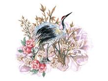 Hand Drawn Crane Bird And Flow...