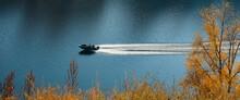 The Motor Boat Moves In The Mi...