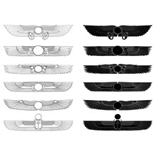 Vector Monochrome Icon Set With Ancient Egyptian Symbol Winged Sun For Your Project