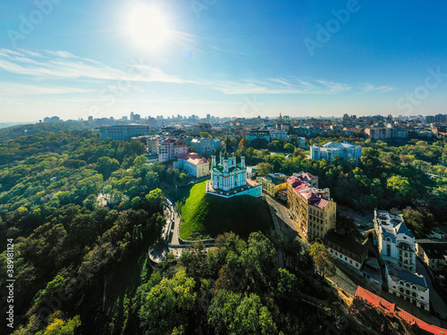 Aerial top view of Saint Andrew's church and Andreevska street from above city o Canvas Print