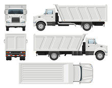 Dump Truck Vector Template With Simple Colors Without Gradients And Effects. View From Side, Front, Back, And Top
