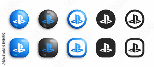 Sony PlayStation Video Game Console Modern 3D And Flat Icons Set Vector Isolated On White Background. PS Logo In Different Variations