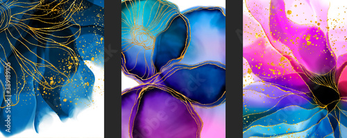 Set of handmade abstract art background with watercolor, Alcohol ink, spots elements with purple, violet and blue color. Elegant Liquid marble, gold lines for wallpaper, poster, texture or cards.