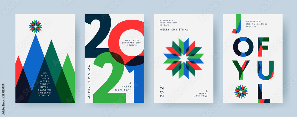 Fototapeta Merry Christmas and Happy New Year Set of backgrounds, greeting cards, posters, holiday covers. Design templates with typography, season wishes in modern minimalist style for web, social media, print