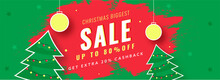 Christmas Biggest Sale Header Design With 80% Discount Offer, Sticker Style Xmas Trees, Baubles Hang And Red Brush Stroke On Green Background.