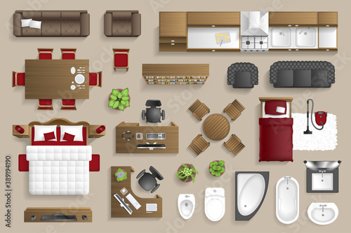Obraz Vector set. Furniture for the bedroom, living room, kitchen, office, bathroom. Top view. Double bed, desk, sofa, wardrobe, bath, sink, chair. View from above. - fototapety do salonu