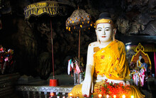 BAYIN NYI BEGYINNI PAGODA, MYANMAR - JANUARY 1. 2016: View Into Cave Of Buddhist Temple Near Hpa An, Myanmar